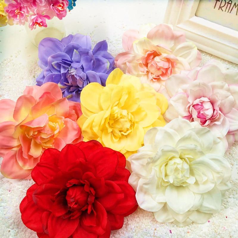 5 Stücke 11 Cm/blume Künstliche Seide Falsche Dahlie Chrysantheme Blume Köpfe Home Dekoration Diy Hochzeit Kranz Collage Geschenk Box