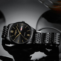 CARNAVAL Marca de Luxo Cristal de Safira Automáticas Homens Mecânicos do Relógio de Aço Preto Relógios Mecânicos dos homens de Negócios À Prova D' Água