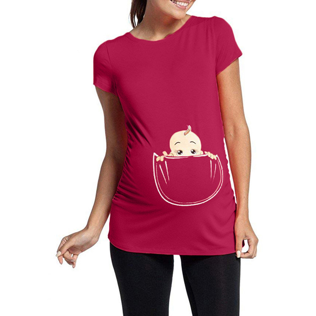 MUQGEW Women's Maternity Clothes Baby in Pocket Print T-Shirt Top Tee 2019 Summer Short Sleeve T-shirt Clothes for Pregnant thumbnail