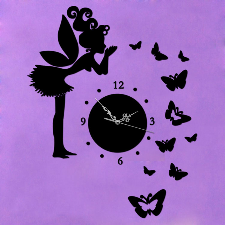 New Fairy U0026 Butterfly Mirror Wall Clock For Home Children Bedroom  Decoration DIY Crystal Mirror Wall Watches Wedding Decoration In Wall Clocks  From Home ... Great Ideas