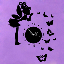 New Fairy & Butterfly Mirror Wall Clock For Home Children Bedroom Decoration DIY Crystal M