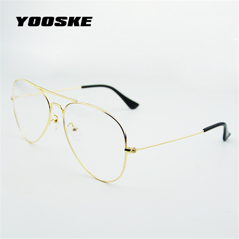 YOOSKE Fashion Women Glasses Frames Men Transparent Classic Aviation font b Sunglasses b font Designer Metal