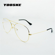 YOOSKE Fashion Women Glasses Frames Men Transparent Classic Aviation Sunglasses Designer Metal Optical Clear Lens Spectacle