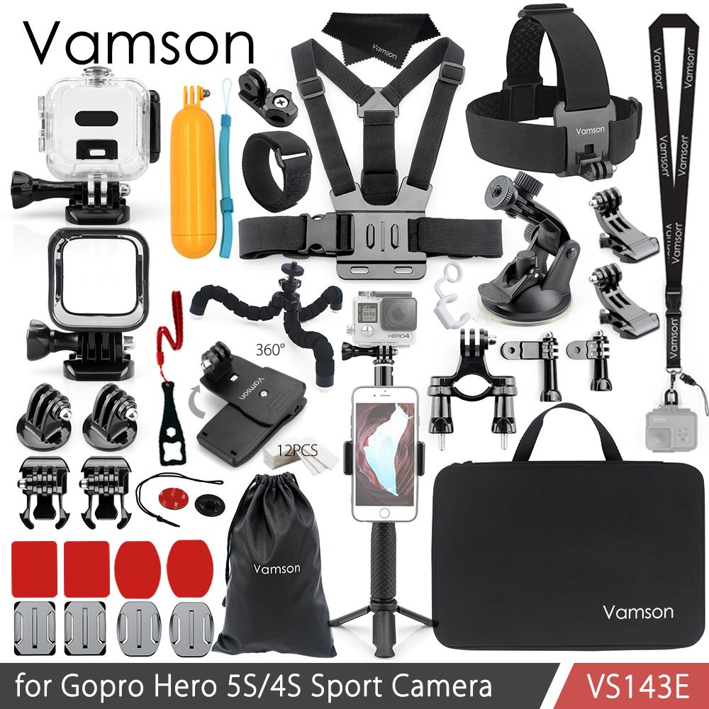 цена на Vamson for Gopro Hero 5S/4S Accessories Set Waterproof Housing Case Frame Mount Adapter for Go pro Hero 5S 4 Session VS143