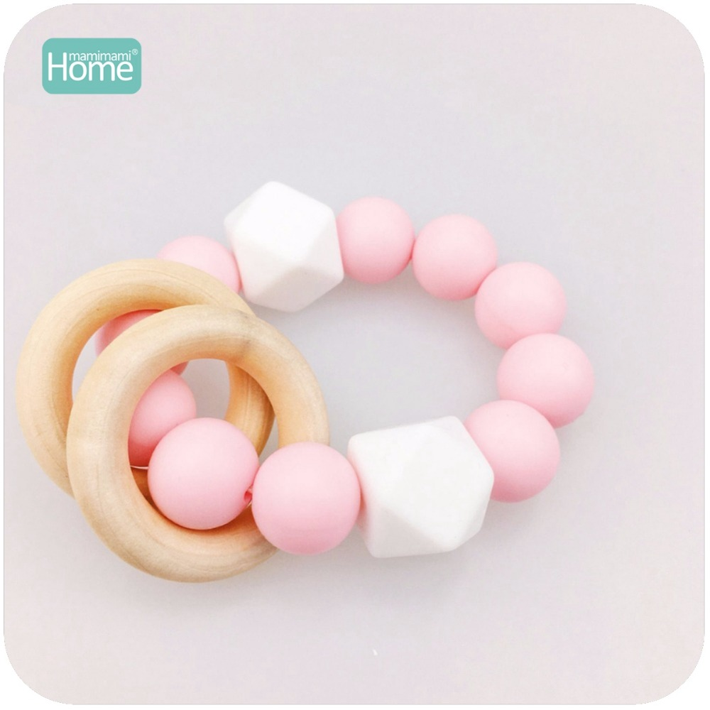 MamimamiHome Baby Organic Rattle Silicone Bracelet Waldorf Educational Toy For Children Teething Accessories Baby Toys