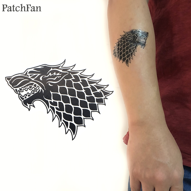 5pcs/set Patchfan Game of thrones Wolf Cool Temporary Body Art Tattoo Sticker for Women Men diy Shoulder Arm dropshipping A1086
