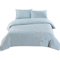Cotton embroidered quilt cover duvet cover only 220x240cm blue embroidery home textiles Hotel Quality & Hypoallergenic