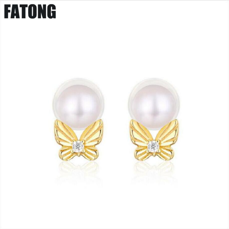 New 925 freshwater pearl earrings simple temperament bow female Japanese and Korean fashion jewelry. J0143