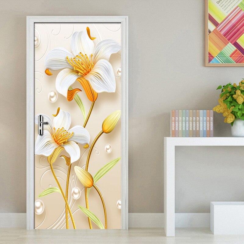Pvc Waterproof 3d Flower Door Sticker Self Adhesive Wall Decals Wallpaper For Living Room Room Bedroom Door Stickers Home Decor Door Stickers Aliexpress
