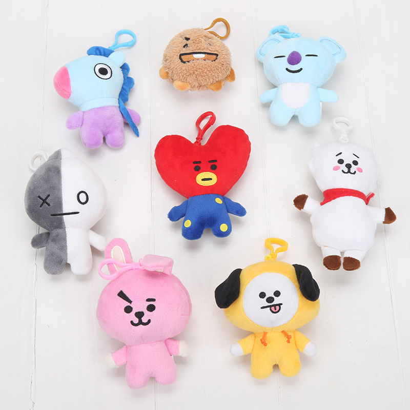 5-15cm HOT BTS BT21 Plush Keychain Doll Keyring Chimmy Cooky Mang Koya Animal BT21 Stuff Soft Toy Newborn Kids Toys