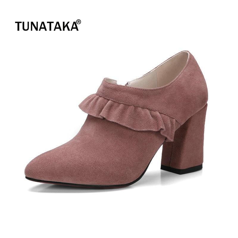 все цены на Suede Hoof High Heel Pointed Toe Woman Pumps Fashion Ruffles Side Zipper Dress High Heel Shoes Woman Black Gray Pink