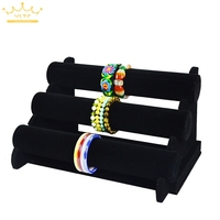 Wholesale Bracelet Bangle Watch Display Holder Three Tier Black Velvet Jewelry Display Rack