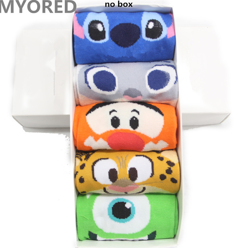 MYORED 5pair women cartoon socks cat dog animal invisible boat socks cotton slippers summer short ankle kawaii cute socks NO BOX
