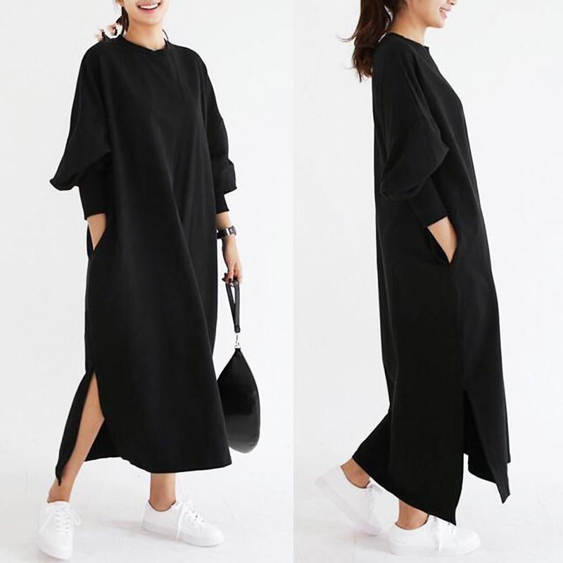 ZOGAA New plus size women spring new long-sleeved long split fork dress Fashion streetwear 2 colour S-3XL