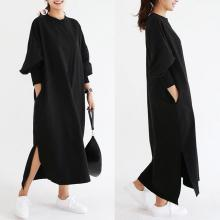 ZOGAA New plus size women spring new long-sleeved long split fork dress Fashion streetwear 2 colour S-3XL