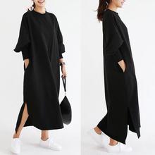 цена ZOGAA New plus size women spring new long-sleeved long split fork dress Fashion streetwear dress women 2 colour S-3XL long dress