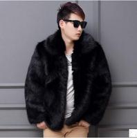 Black White Mens Autumn Imtation Fur Overcoats Plus Size Casual Male Man Made Fur Outwears Winter