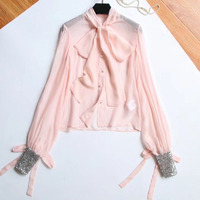 pink blouse women vintage long sleeve sequined blouse 2018 summer women blouse with bow