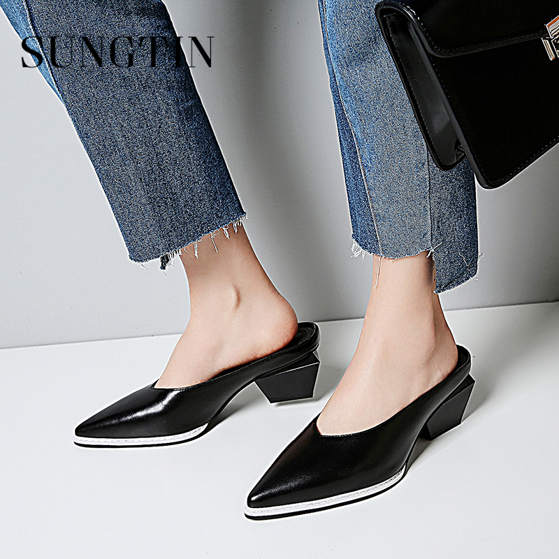 Sungtin New Fashion Genuine Leather Pointed Toe Women Mules Shoes Casual Black White High Heel Slip-on Shoes Ladies Party Pumps