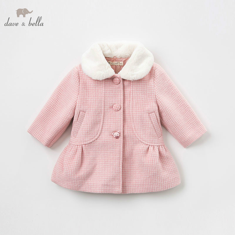 DB8503 dave bella baby wool jacket chidlren fashion pink plaid coat infant toddler boutique outerwear