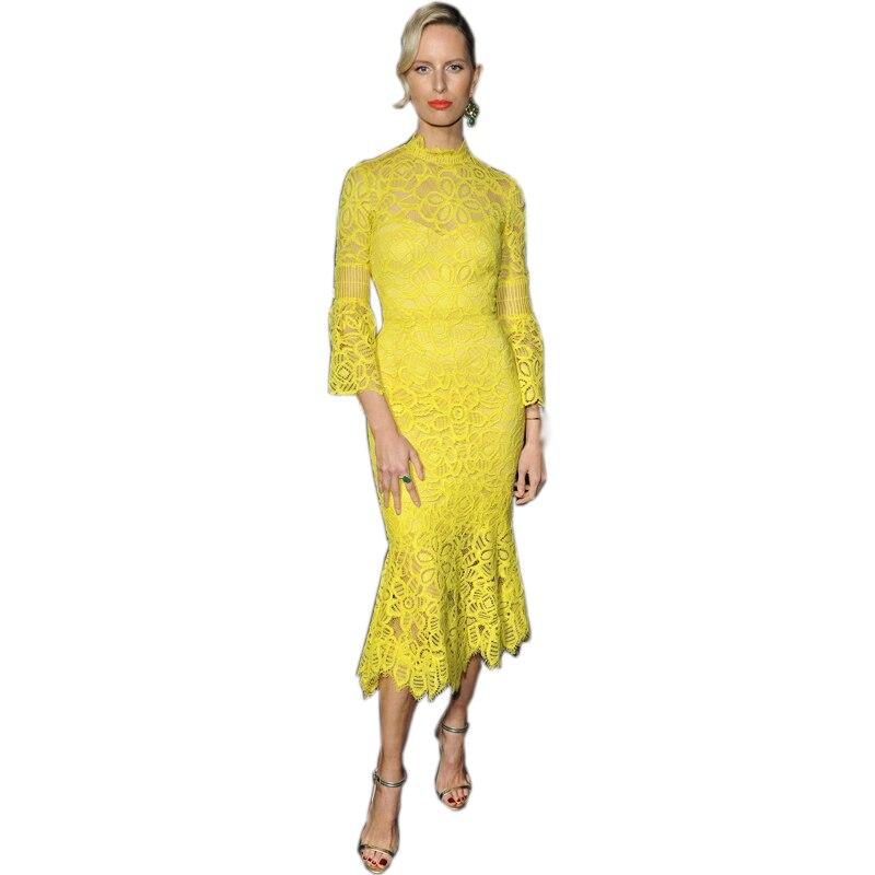 Mode 2018 été femmes élégant Flare manches piste mince jaune dentelle robe grande taille 4XL célébrité sirène longues robes
