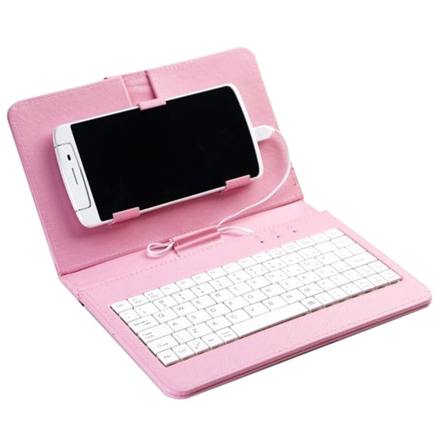 2019 Hot Sales Portable PU Leather Keyboard Case for  Protective Keyboard For 7.0-8.0 inch Mobile Phone & Tablet