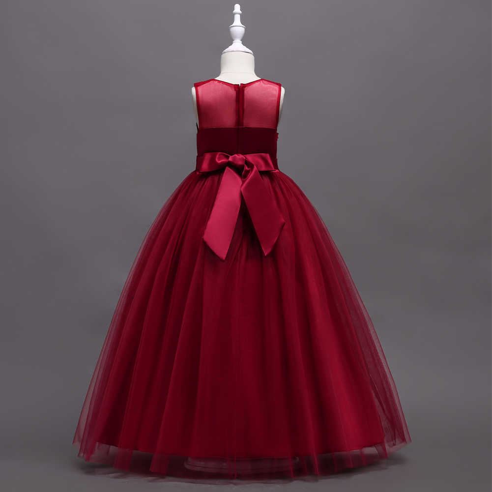 8211a58746 Kids Luxury Long Formal Special Occasion Evening Wear Clothes Burgundy  Girls Cute Lace Dresses Princess Pageant Gown Child
