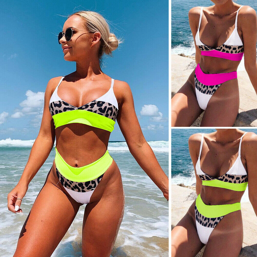 2019 Sexy Leopard Patchwork Bikini Set Women 39 s Summer Beach Two Pieces Bathing Suit Female High Waist Swimsuit in Bikinis Set from Sports amp Entertainment