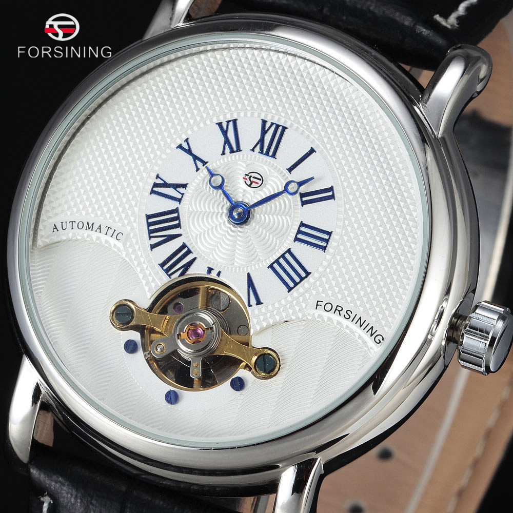 FORSINING Small Rome Dial Genuine Leather Strap Automatic Watch Waterproof Men Luxury Tourbillon Mechanical Watches Montre