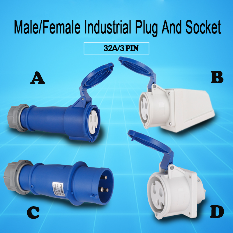 32 amp 3 pin Plug /& Socket 220 volt 240v Waterproof to IP44 32A
