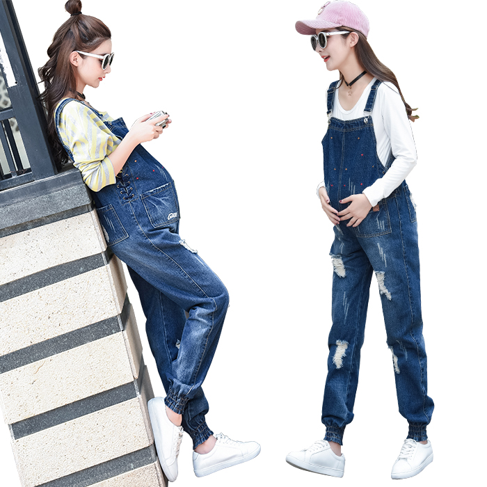 Spring Autumn Jeans Belt Pants Capris Trousers Denim Jumpsuit Plus Size Maternity Clothes for Pregnant Women Holes Pants C046