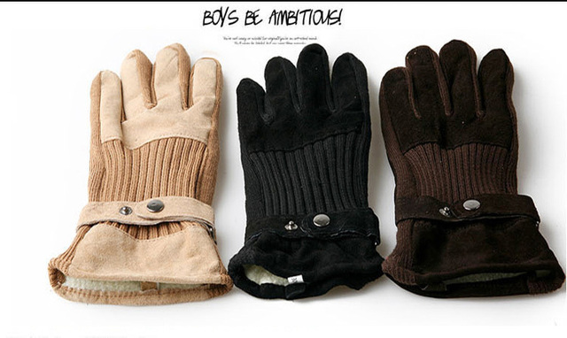 Combo gloves pigskin gloves for men and women couple models thick warm winter wear-resistant gloves