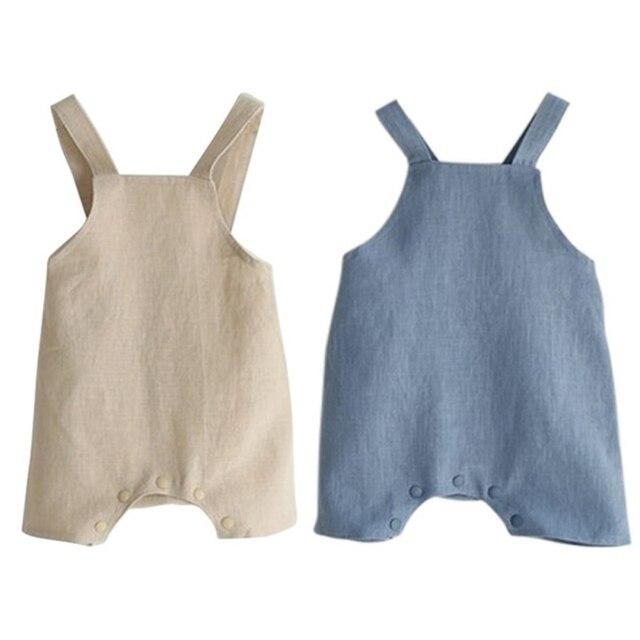 Летняя из хлопка и льна для маленьких девочек комбинезон одежда на подтяжках Комбинезоны для маленьких мальчиков комбинезон детская одежда M/L 2 цвета Новый