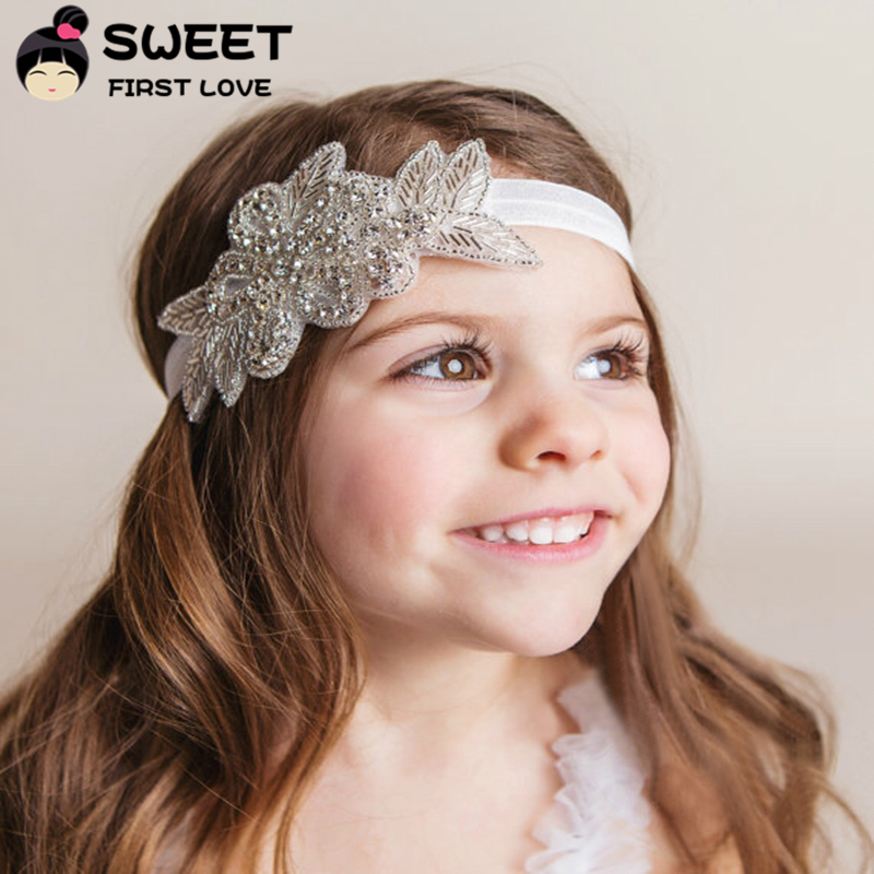 Girls Rhinestone Headbands Wedding Gifts Shinny Flowers Hairband With Leaves Baby Headbands Hair Accessories For Girls