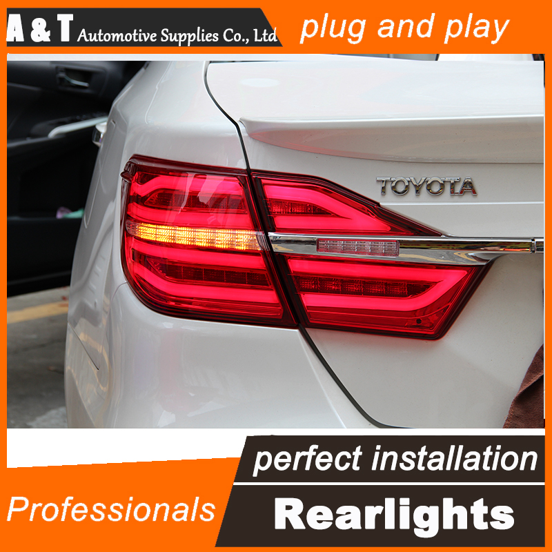 Car Styling for Toyota Camry Taillight assembly 2015 New Camry V55 LED Tail Light Rear Lamp DRL+Brake+Park with hid kit 2pcs.