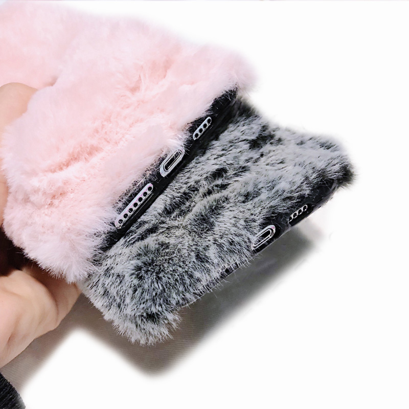 KIPX1036_10_For iPhone 7 8 Hairy Warm Phone Cover for iPhone XS XR 5S SE 6S 7P 8 Plus Plush Hand Warmer Soft Case