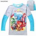 El precio más bajo Camisas 2017 del resorte niños del bebé muchachas de los muchachos camiseta Capitán América muchachas de los muchachos camiseta completa 3-9Y SAILEROAD