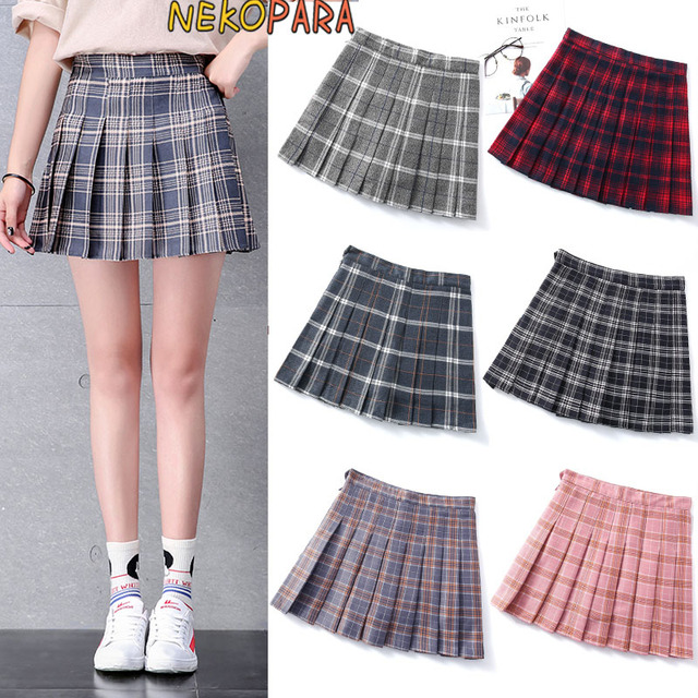b1be0ad5c Japanese Style Women's Cute Girls Student Uniform JK Plaid Pleated Skirt  High-waisted Mini Skirt with Safety Shorts 6 Colors