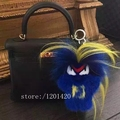 customized real fur karl monster bag bugs Bag charm tag pompom car key chain Luxury  handmade Real Fur Doll backpack tote charm