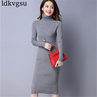 Fashion 2019 Turtleneck Long Sleeve Sweater Female Autumn Winter New Split Fork Sweater Knitted Dress Female V113