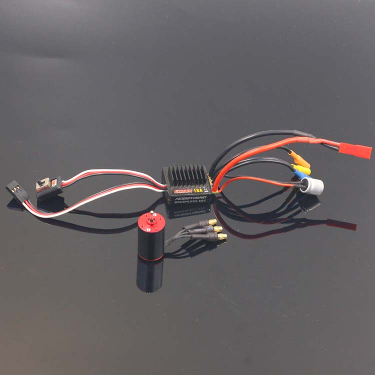 1Set 1:24 1:28 RC Car Brushless Power Kit 9000KV 5700KV 1625 <font><b>Motor</b></font> + <font><b>2S</b></font> EZRUN18A ESC Speed Controller with 3.5mm Banana Plugs image