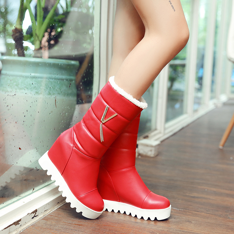 Lucyever Winter Women Boots Hidden Wedges Platform Waterproof Keep Warm Ladies Snow Boots Black Red Mid Calf Boots Plus Size цена