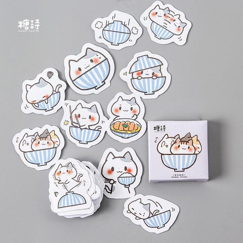 45pcs/pack Square Cute Kawaii Cat & Bowl Mini Adhesive Stickers Scrapbooking Diary Album Stick Label Paper DIY Decor