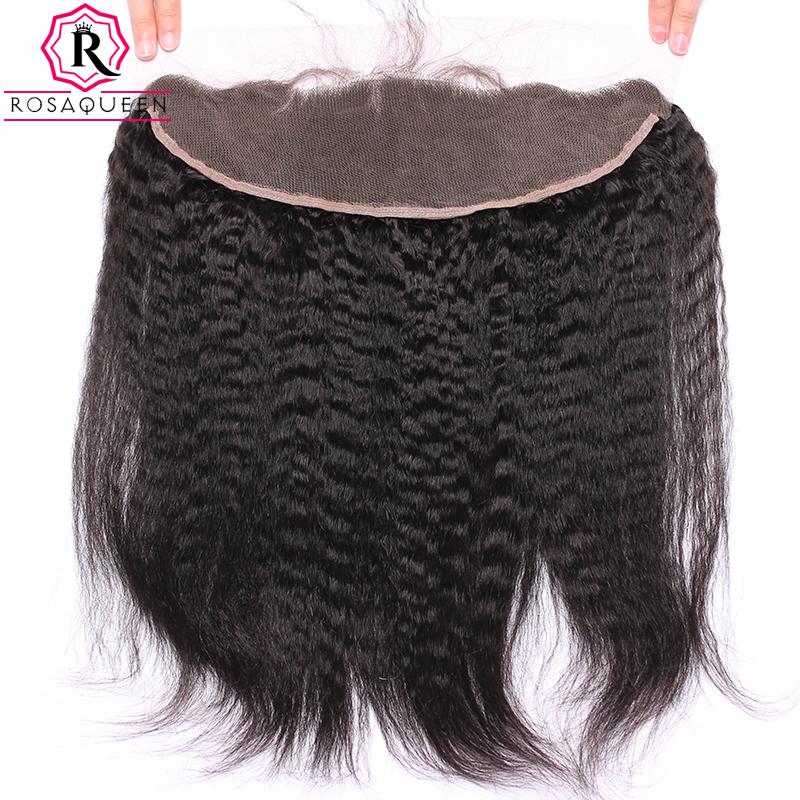 Rosa Queen Kinky Straight Lace Frontal Closure 100% Human Hair Closure Brazilian Remy Hair 13x4 Lace Frontals With Baby Hair