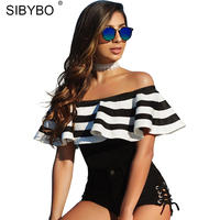 Sibybo Sexy Off Shoulder Ruffles Bodysuit Women Rompers 2017 White Black Striped One Piece Bodycon Jumpsuits
