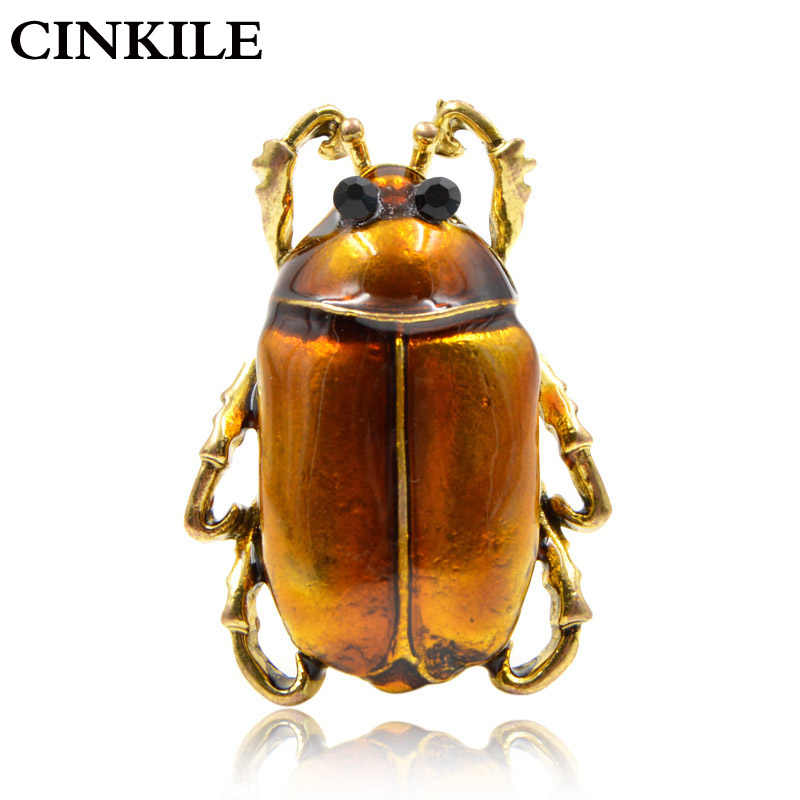 CINKILE New Arrival Enamel Small Beetle Brooches for Women Fashion Cute Insect Corsage Vintage Exquisite Broches Backpack Badges