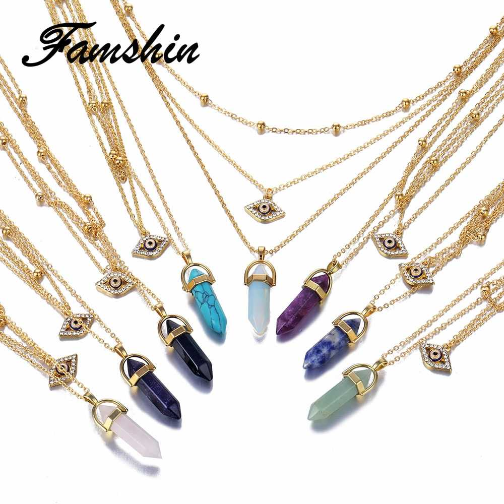 FAMSHIN Trend Opal Stone Chain Necklaces Fashion Multi Layer Crystal Eye Pendant Necklace Statement Bohemian Jewelry for Women