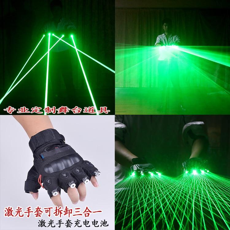 Doprava zdarma Multifunkační 3 v 1 LED laserové rukavice Zelené světlo Taneční scéna Show DJ Club Party Single / Multi Beams Plane