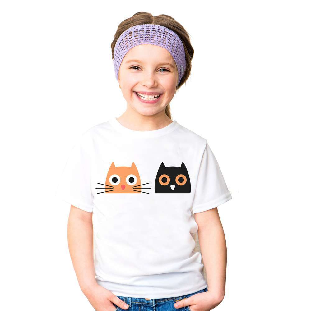 2018 <font><b>Baby</b></font> Girl <font><b>Animal</b></font> Cute Cat Short <font><b>TShirt</b></font> Girl's Cotton Summer T Shirt Kids cartoon White T-Shirt Children Cat <font><b>Animal</b></font> <font><b>Tshirt</b></font> image