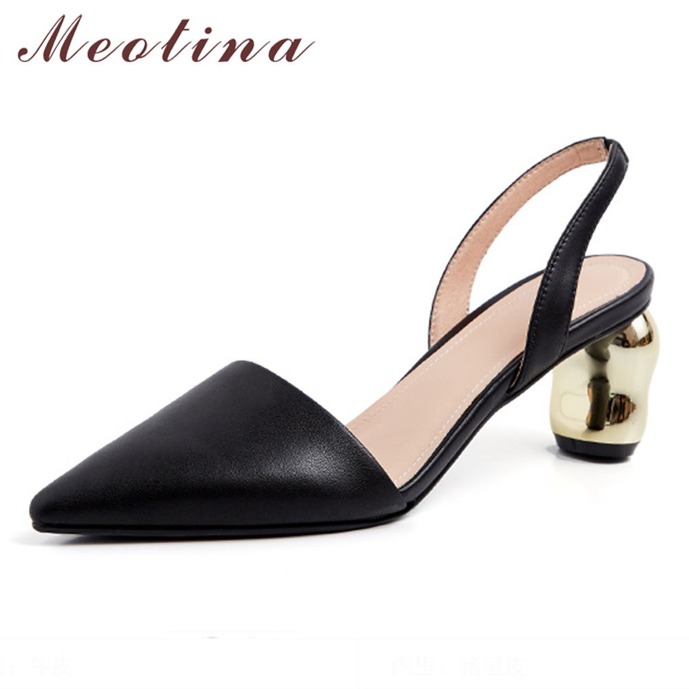 Meotina Cow Leather High Heels Women Shoes Natural Genuine Leather Thick Heels Shoes Pointed Toe Two